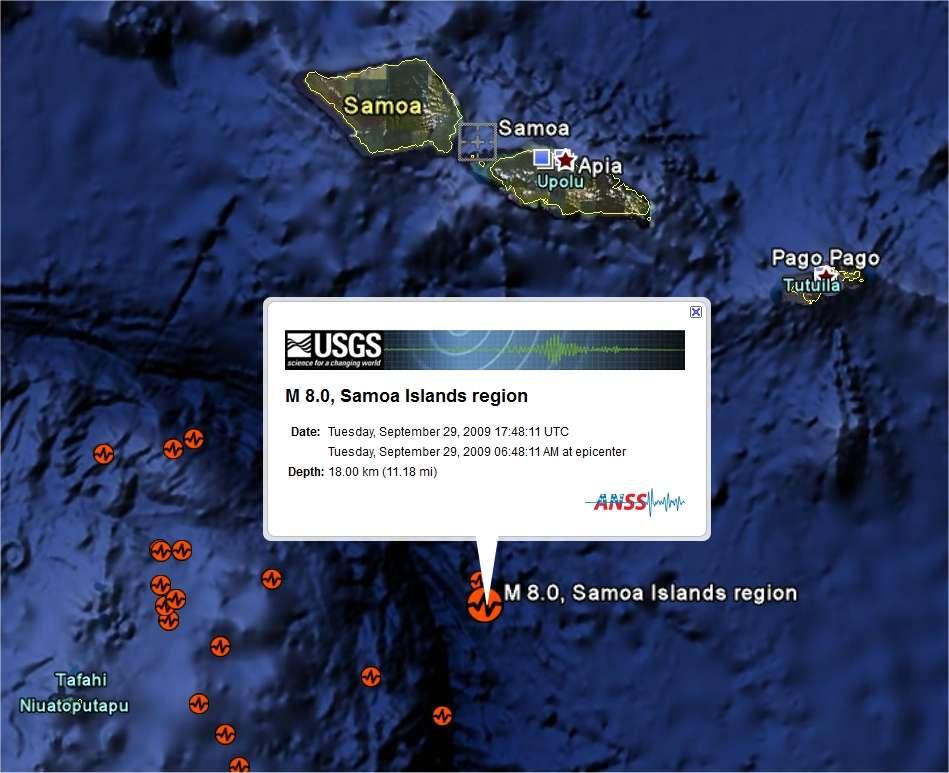 Les sites où la terre a tremblé, sous le plancher océanique, sont déjà repérés sur Google Earth.