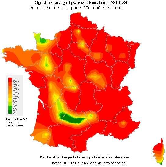 L'épidémie de grippe devrait bientôt atteindre son paroxysme en France. Pourtant, la plus grande partie du territoire est dans le rouge. © Réseau Sentinelles