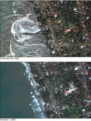 Le 26 décembre 2004, un tremblement de terre de magnitude extrême engendrait le tsunami qui provoqua ses dégâts les plus importants sur l'île de Sri Lanka. En haut : les dévastations dans la région de Kalutara (photo prise par le satellite DigitaGlobe's Q