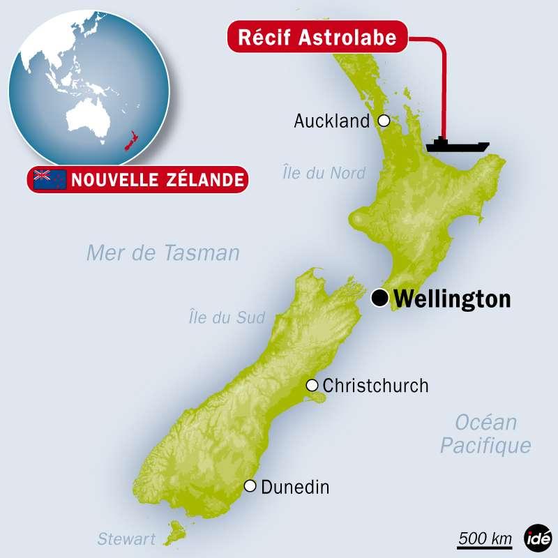 La marée noire provoquée par le Rena a atteint la côte néo-zélandaise ce matin. © Idé