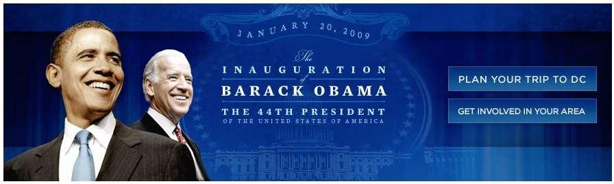 L'élection et l'investiture de Barack Obama suscitent beaucoup d'activité sur les réseaux de téléphonie et du Web (capture du site officiel de l'investiture).