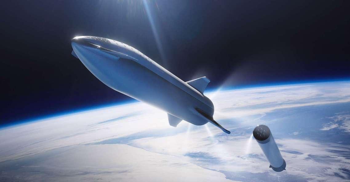 Le BFR s'appelera désormais Starship, a annoncé le patron de SpaceX ce lundi 19 novembre. L'énorme lanceur réutilisable répond aux projets ambitieux d'Elon Musk, pour qui le tourisme lunaire, la colonisation de Mars et autres voyages interplanétaires sont au programme. © SpaceX