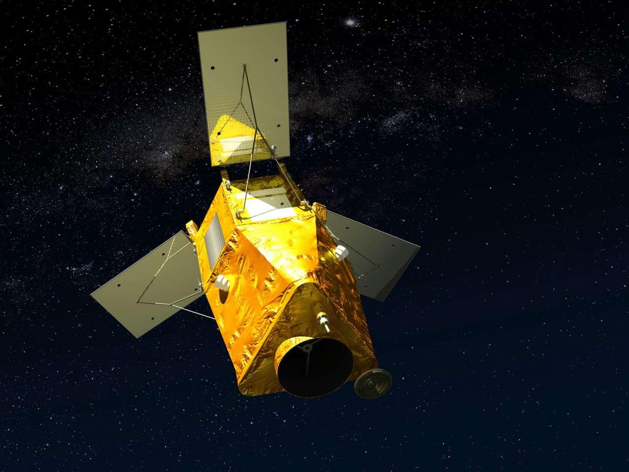 Ne cherchez pas, il n'existe pas de photographie du satellite KazEOSat-1 du Kazakhstan. Cette vue d'artiste en montre le moins possible, de façon à ce que les spécialistes ne se fassent pas une idée trop précise des réelles capacités de ce satellite. © Airbus Espace