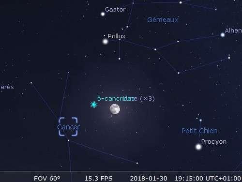 La Lune en rapprochement avec Pollux et l'amas de la Crèche