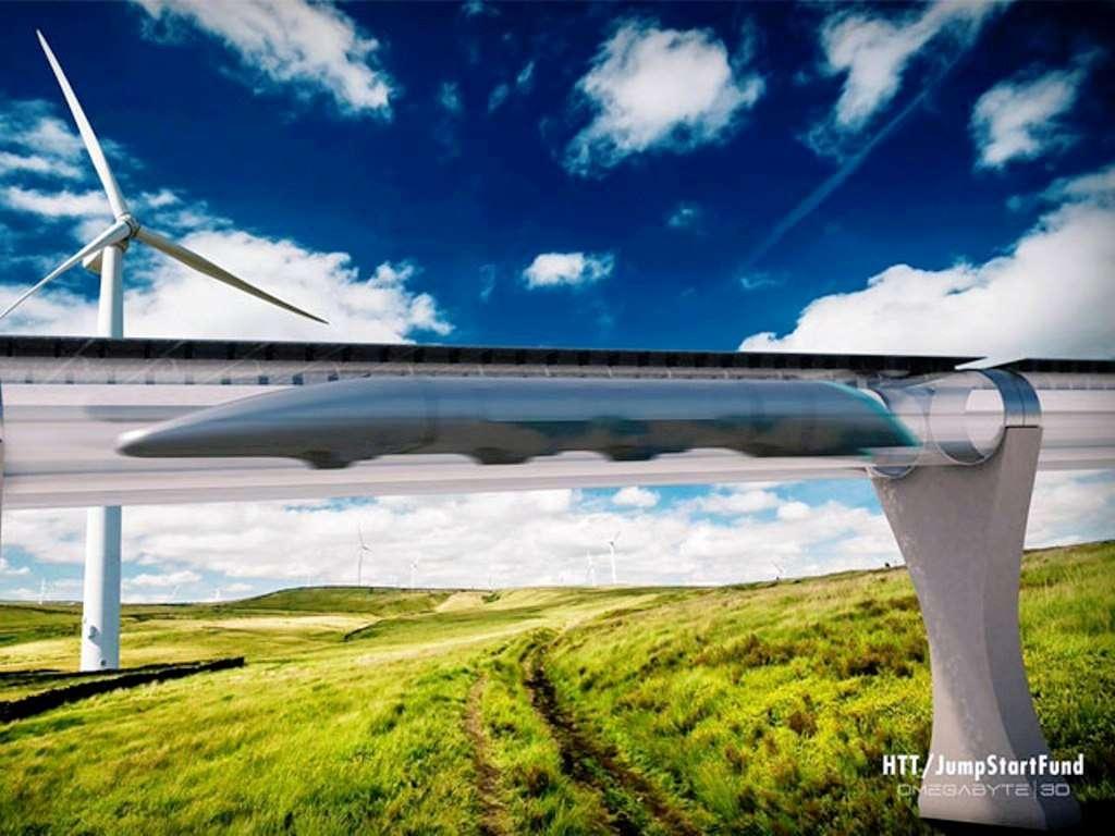 Une vue d'artiste du projet Hyperloop. D'ici la fin du XXIe siècle, il existera peut-être une sorte de métro mondial connectant les métropoles de la planète de façon écologique et fiable à des vitesses presque supersoniques. © Hyperloop Transportation Technologies