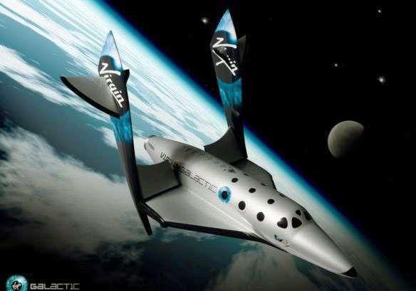 SpaceShipTwo en phase de rentrée atmosphérique (vue d'artiste). Crédit Virgin Galactic