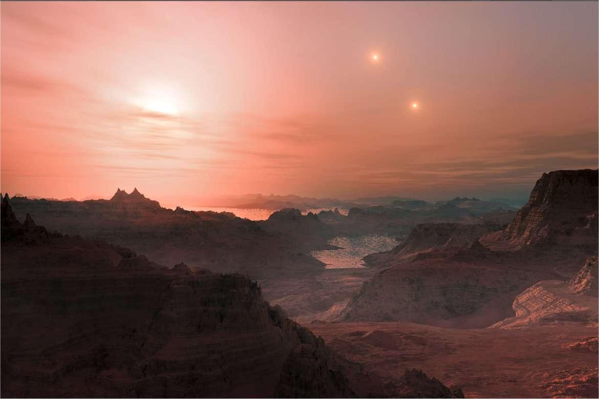 Une vue d'artiste d'un ciel éclairé par une naine rouge sur une planète tellurique, quelque part dans la Voie lactée... © ESO