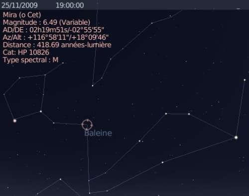 L'étoile variable Mira atteint son maximum de luminosité