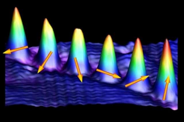 Une des images montrant les atomes de cobalt vus au microscope à effet tunnel. Les flèches indiquent l'orientation du spin de ces atomes. Crédit : Saw-Wai Hla, Ohio University