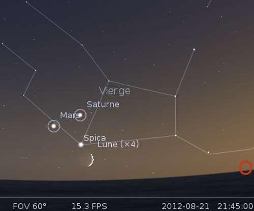 La Lune en rapprochement avec Spica, Mars et Saturne