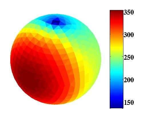 L'observation en infrarouge a permis de mesurer la température de surface d'Apophis, qui n'est pas homogène à cause du rayonnement solaire. Les valeurs sont indiquées en kelvins (degrés au-dessus du zéro absolu, soit -273,15 °C). Elles ne sont que des estimations correspondant, comme on le constate sur l'image, à un corps sphérique, alors que l'on pense, depuis les observations de 2005 et 2006, que l'astéroïde pourrait avoir une forme allongée. © Esa, Herschel, Mach-11, T. Müller, MPE (Allemagne)
