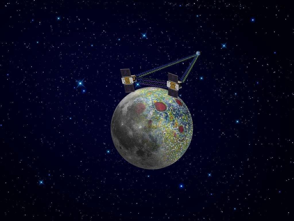 Une vue d'artiste de la mission Grail. Elle a permis de cartographier de façon plus précise le champ de gravité de la Lune et de mieux comprendre l'origine des mascons. © JPL-Caltech, Nasa
