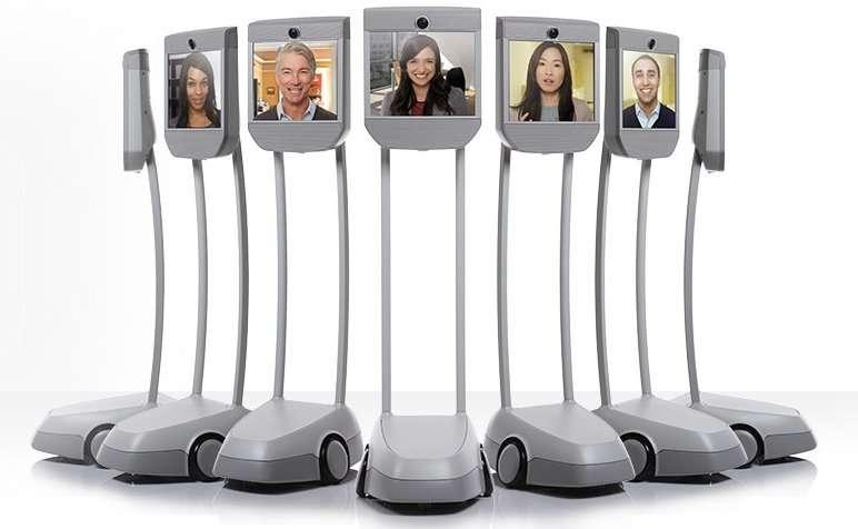 Beam Pro, l'écran à roulettes qui peut rendre presque présent un collègue absent. Verrons-nous un jour ce genre de réunions, où des humains éloignés se rencontreront par robots interposés ? © Suitable Technologies
