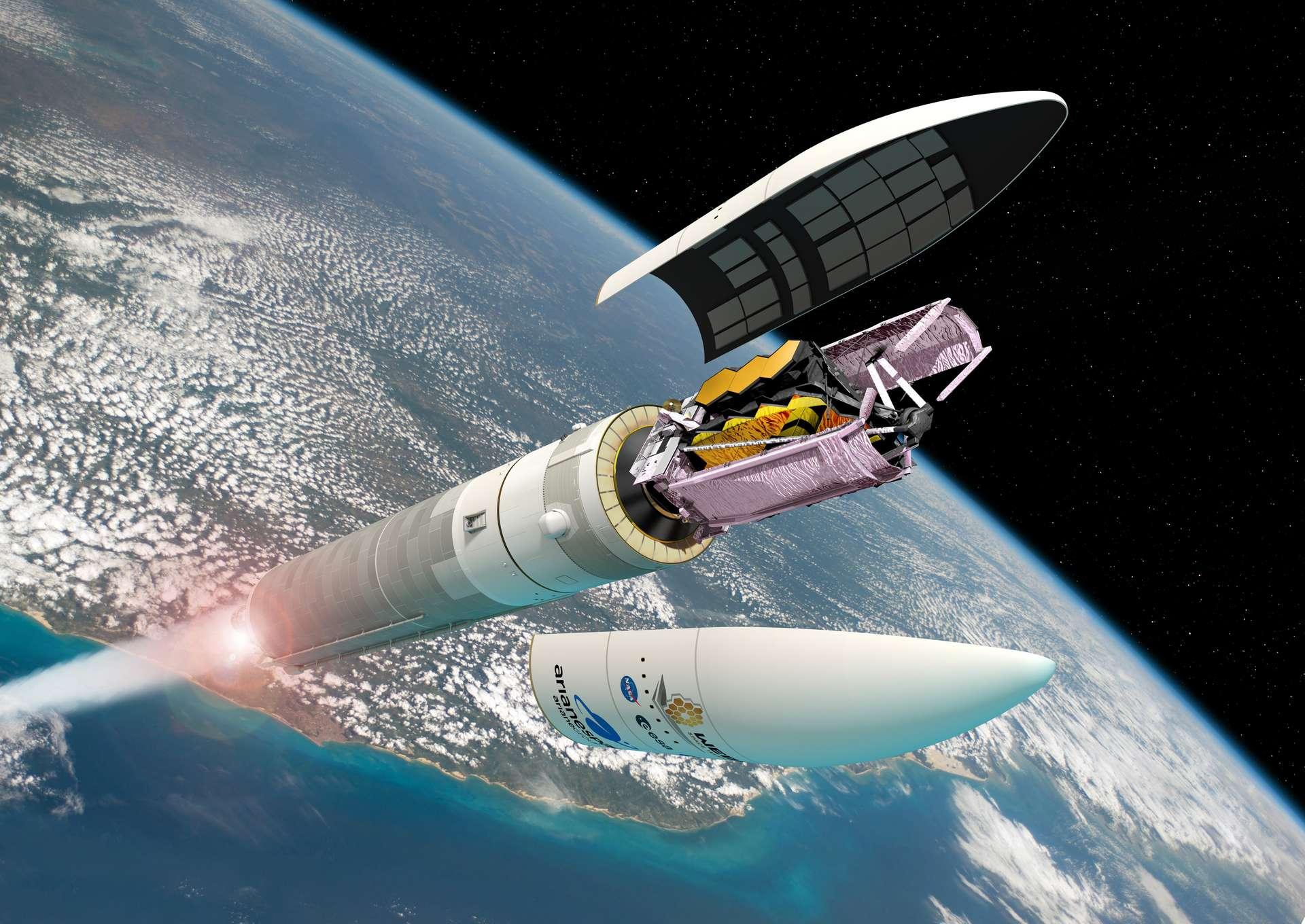 Illustration du JWST au sommet du lanceur Ariane 5, prêt à être déployé. Cela se fera le 18 décembre 2021. © ESA, D. Ducros
