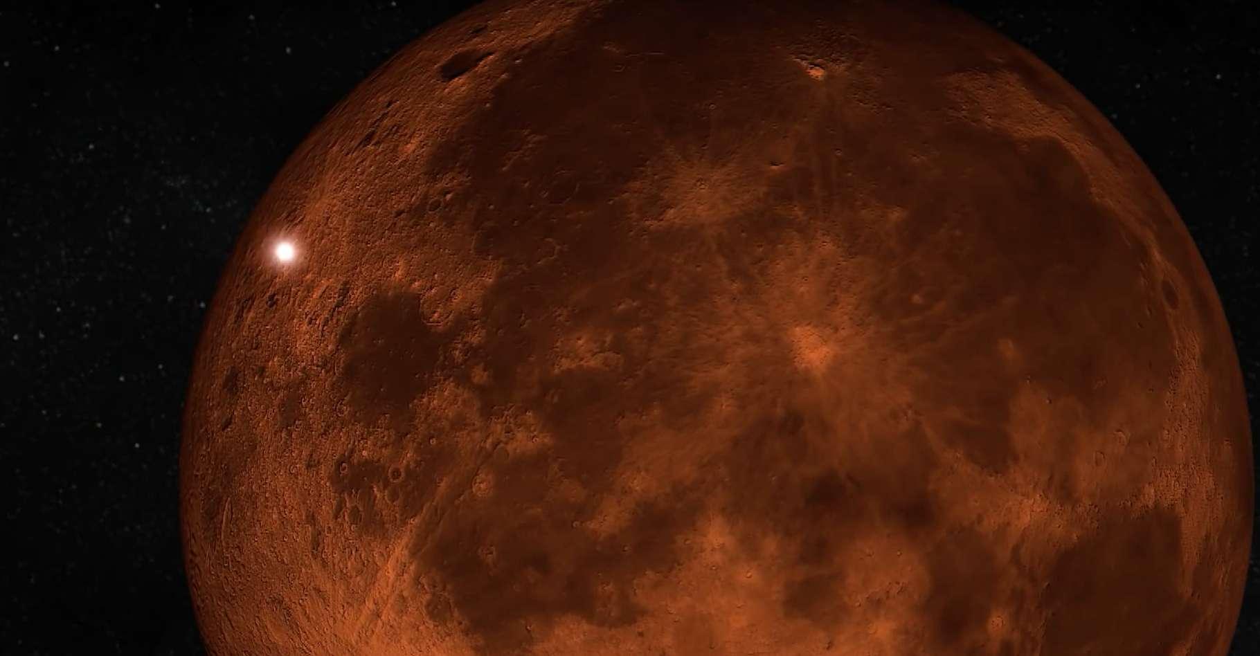 Le flash de l'impact de la météorite sur la Lune éclipsée, vu comme le point brillant en haut à gauche. © J.M. Madiedo, MIDAS, YouTube