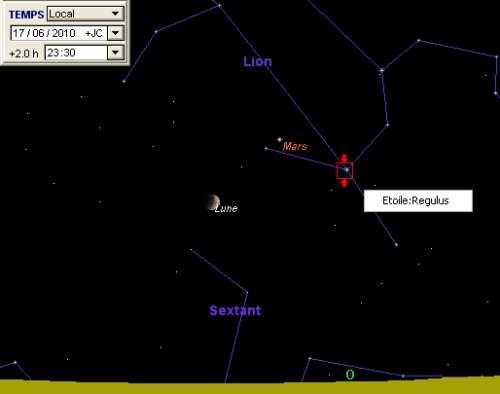 La Lune est en rapprochement avec la planète Mars et l'étoile Régulus