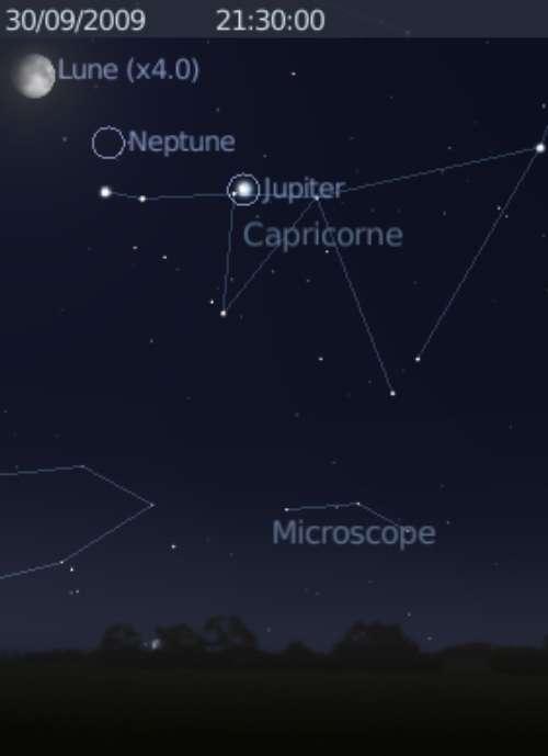 La Lune est en rapprochement avec les planètes Neptune et Jupiter