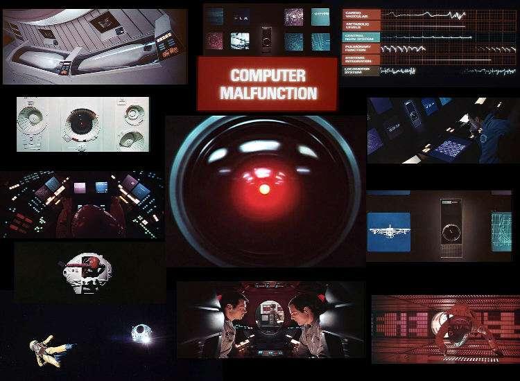 L'ordinateur HAL 9000 dans le film 2001, l'Odyssée de l'espace au centre de l'image. Crédit : Hollywood North Entertainment Services