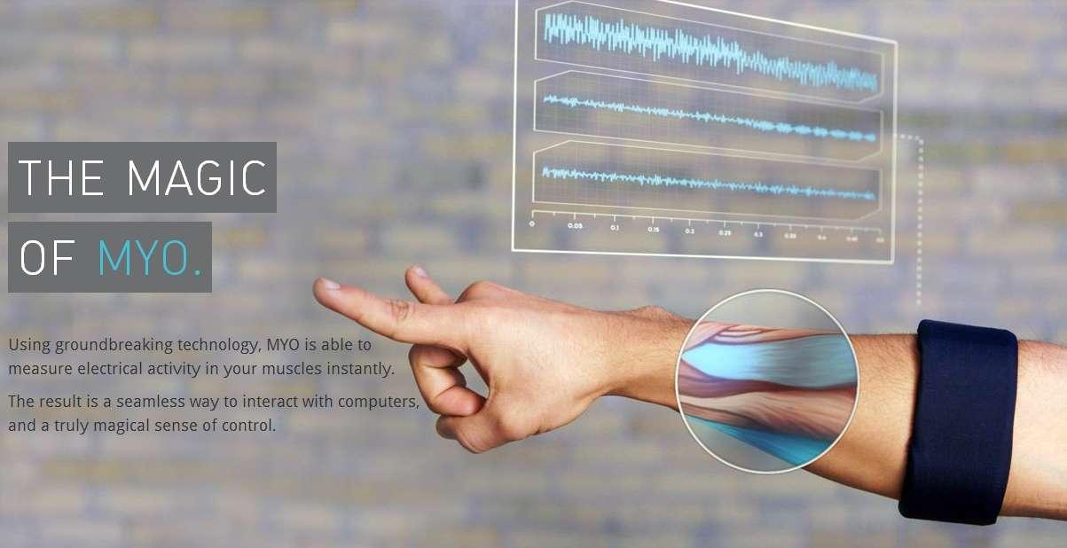 Lorsqu'il détecte les mouvements des muscles de l'utilisateur, le dispositif sait identifier les déplacements de chaque doigt de la main droite. En associant aux données recueillies par les capteurs avec celles du gyroscope, Myo est également capable d'interpréter la position de la main et de chaque doigt dans l'espace. © Myo