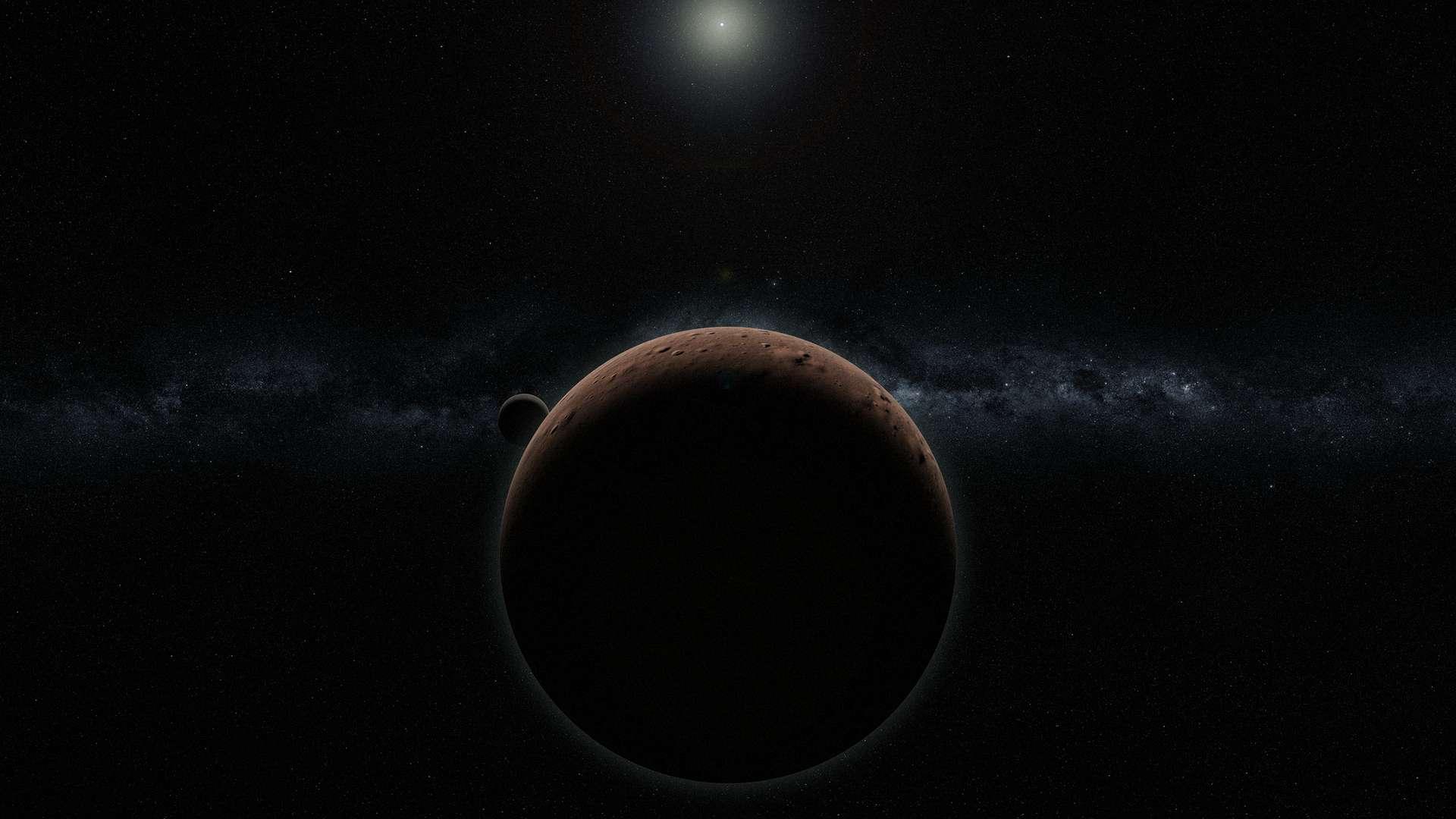 Vue d'artiste de la planète naine 2007 OR10, accompagnée de sa lune. 2007 OR10 est le quatrième plus gros objet de la ceinture de Kuiper, derrière Pluton, Éris et Haumea, et le plus gros objet encore innommé du Système solaire. © Alex H. Parker