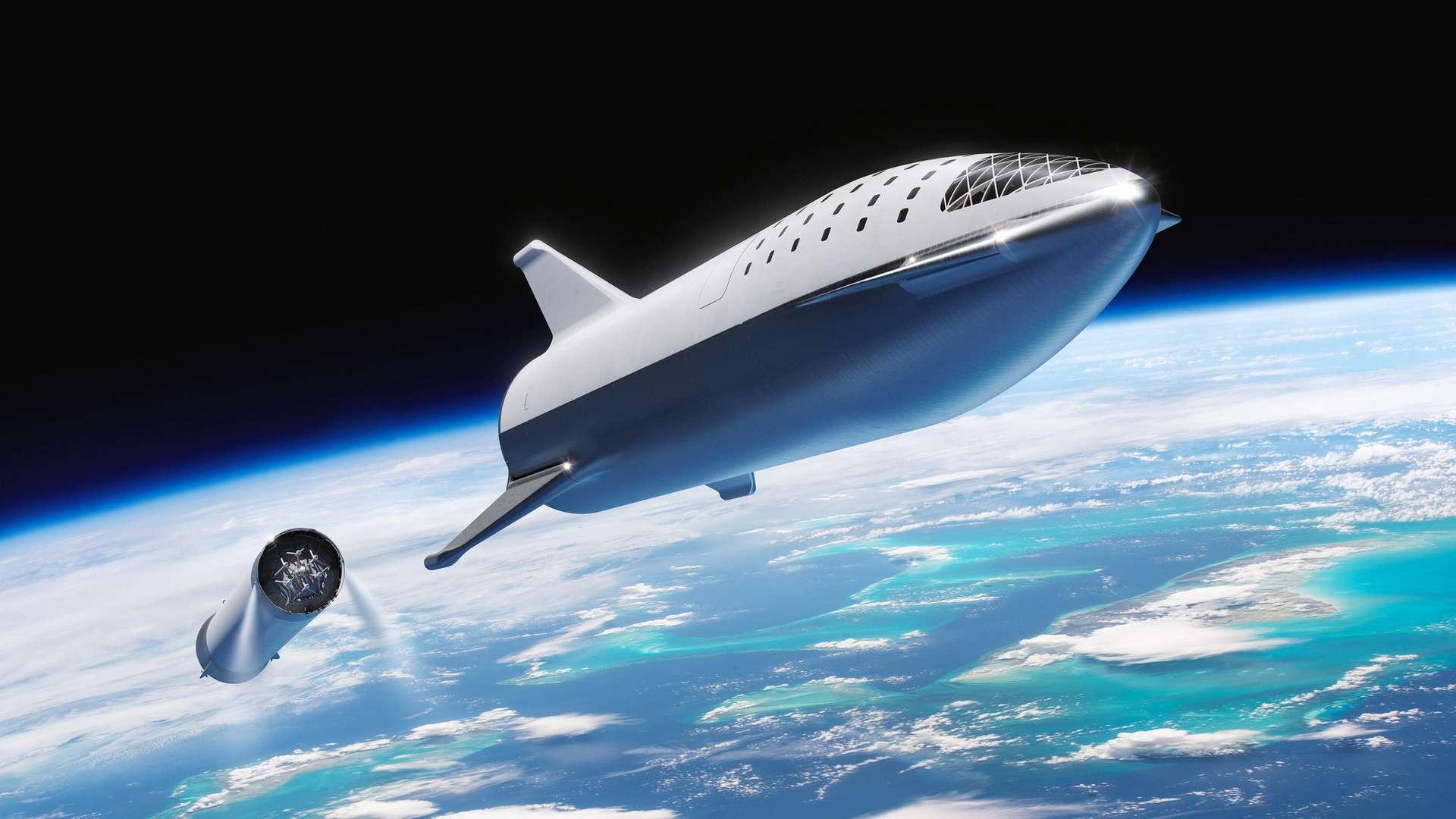 Vue d'artiste du vaisseau Starship développé par SpaceX. Le Starhopper, prototype achevé en janvier 2019, a réussi avec brio son premier « saut » pour tester tous les systèmes du futur Starship. © SpaceX