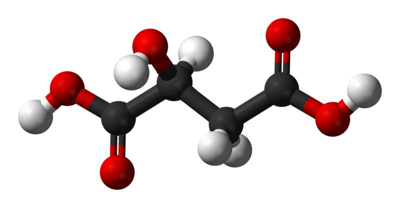 Le malate est la base conjuguée de l'acide malique. © Kemikungen, Wikimedia, domaine public
