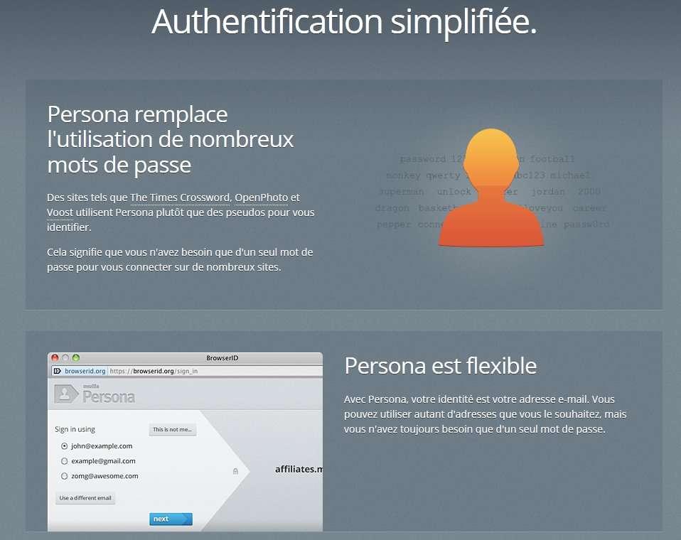 Persona est un service gratuit qui a pour objectif de simplifier les procédures d'authentification. Il envoie aux sites des mots de passe créés pour l'occasion mais l'utilisateur n'indique qu'une adresse de courrier électronique. © Fondation Mozilla