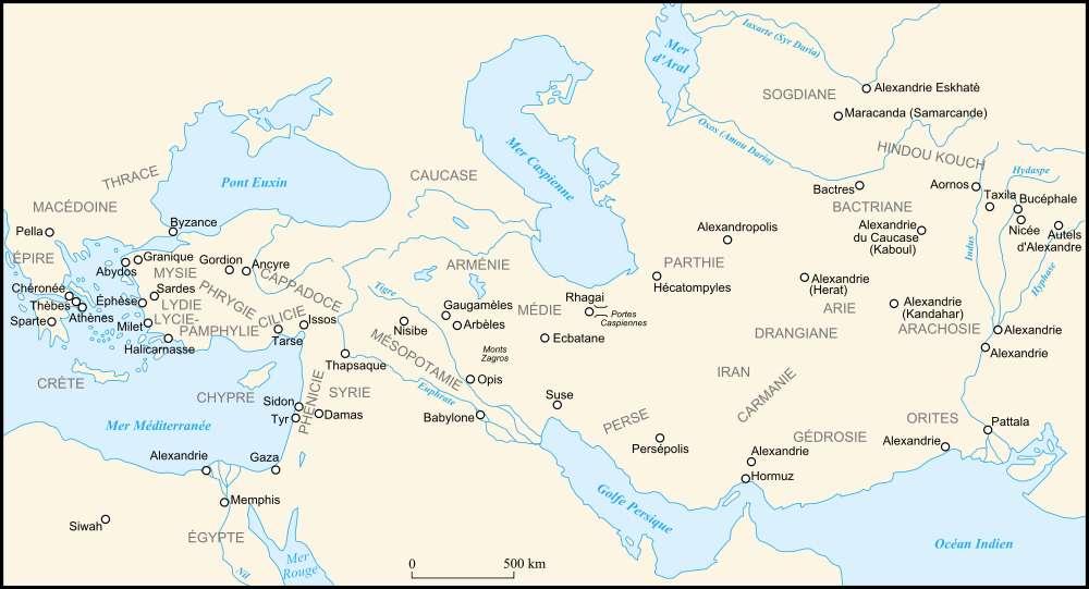 Carte représentant les limites de l'empire conquis par Alexandre le Grand. © historicair, Wikimedia Commons, cc by sa 3.0