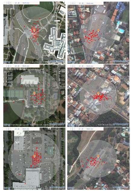 Les premiers essais réalisés par les chercheurs de Microsoft avec la technologie de Cloud-Offloaded GPS ont permis d'obtenir une géolocalisation d'une précision inférieure à 35 m. © Microsoft Research