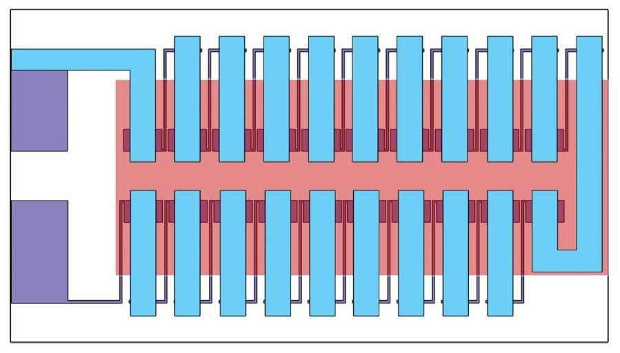 Groupées en un réseau, les vingt cellules photovoltaïques occupent à peine plus de 2 centimètres carrés. © Xiaomei Jia et al.