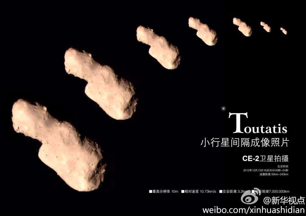 Les premières images de l'astéroïde Toutatis rendues publiques par la China National Space Administration montre un objet conforme au modèle informatique dessiné à partir des observations dans le domaine radio. © CNSA