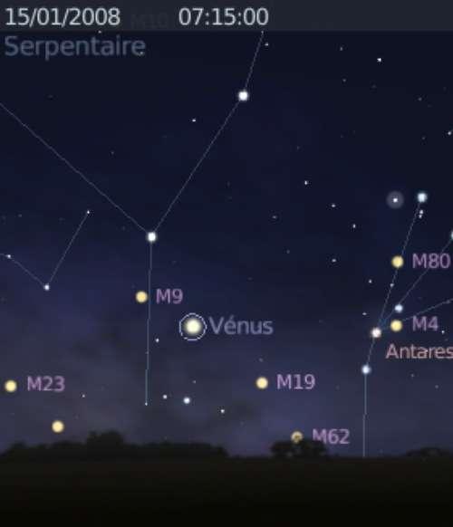 La planète Vénus est proche des amas globulaires M9 et M19