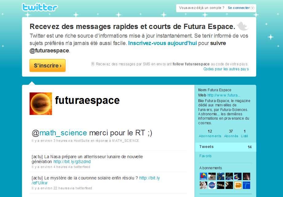 Maintenant, vous pouvez nous suivre sur notre compte Twitter Espace. © Futura-Sciences
