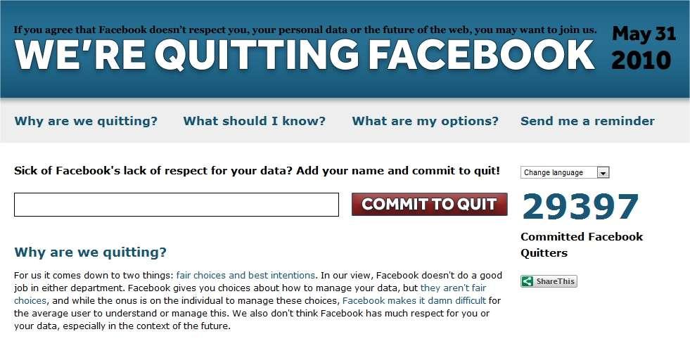Plus de 29.000 personnes se disent prêtes à arrêter... Mais combien le feront ? Et combien rechuteront ? © Quit Facebook Day