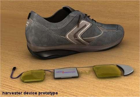 Image de synthèse du système, qu'il faudra intégrer à la semelle de la chaussure, pour produire 10 watts, ou aux deux pour avoir 20 watts. © InStep Nanopower