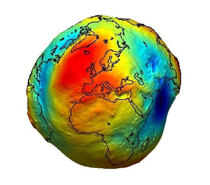 Le géoïde terrestre, avec ses creux et ses bosses, bien sûr largement agrandis. Crédit Esa