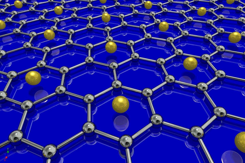 Une vue d'artiste d'un feuillet de graphène « dopé » avec des atomes de lithium pour le rendre supraconducteur. Les atomes de carbone du réseau du graphène sont en gris. © University of British Columbia