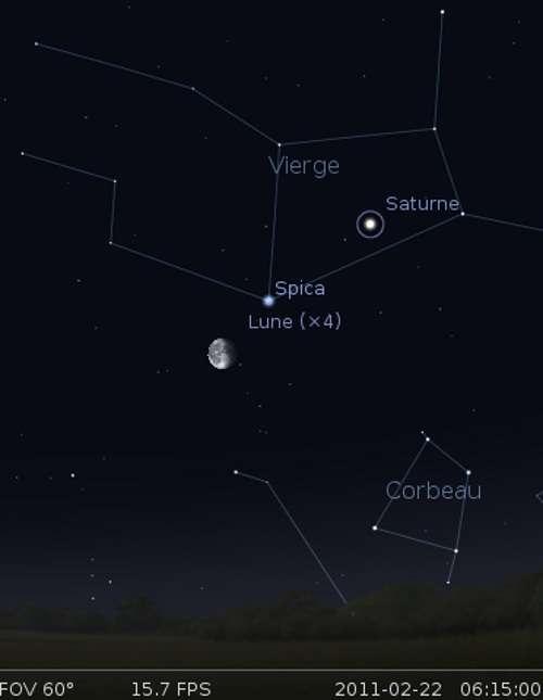 La Lune en rapprochement avec l'étoile Spica