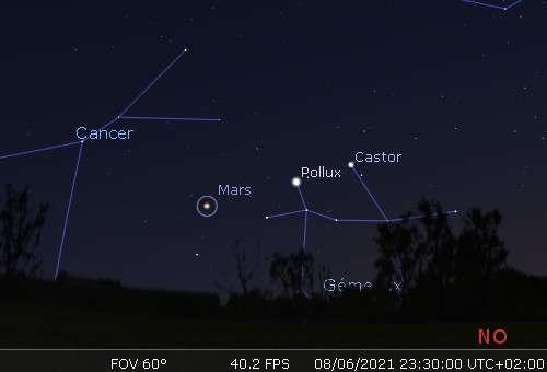 Mars, Pollux et Castor sont alignés dans le ciel