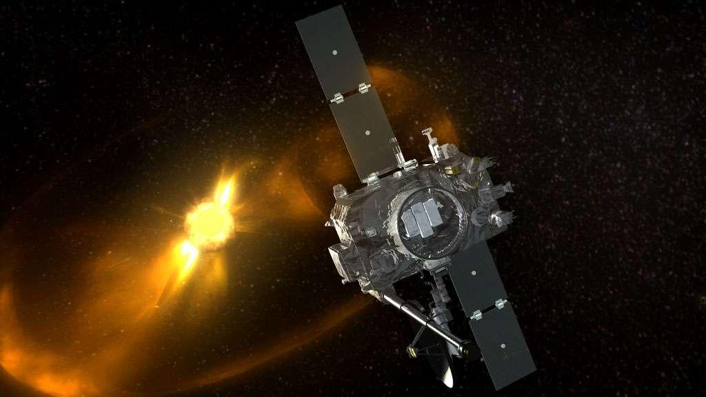Une vue d'artiste d'une des sondes Stereo observant une éruption coronale du Soleil. © Nasa