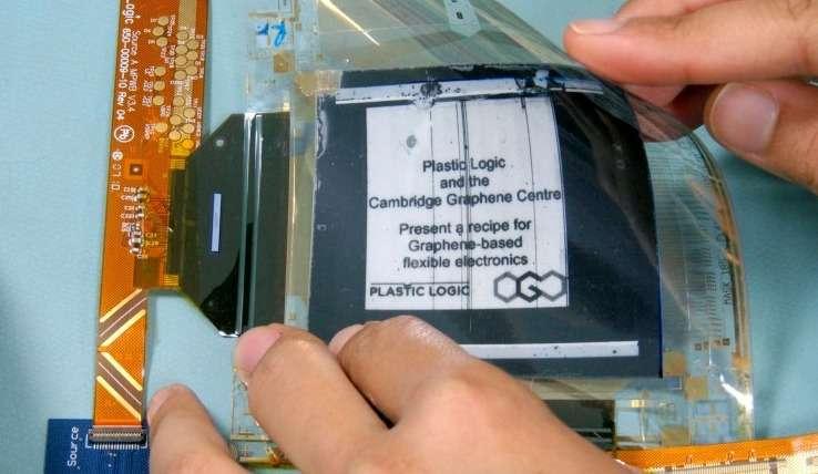 Une équipe associant des chercheurs de l'université de Cambridge et l'entreprise britannique Plastic Logic a présenté le premier écran flexible dont la partie électronique gérant l'affichage est basée sur une électrode en graphène. Ce procédé de fabrication a l'avantage de simplifier la production des écrans flexibles et d'en réduire le coût. © University of Cambridge, Plastic Logic