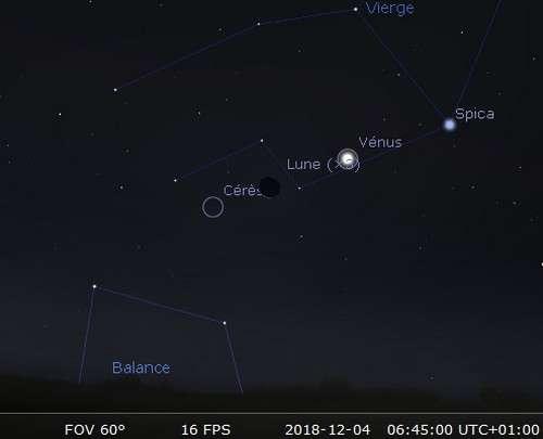La Lune en rapprochement avec Cérès et sera allignée avec Vénus et Spica