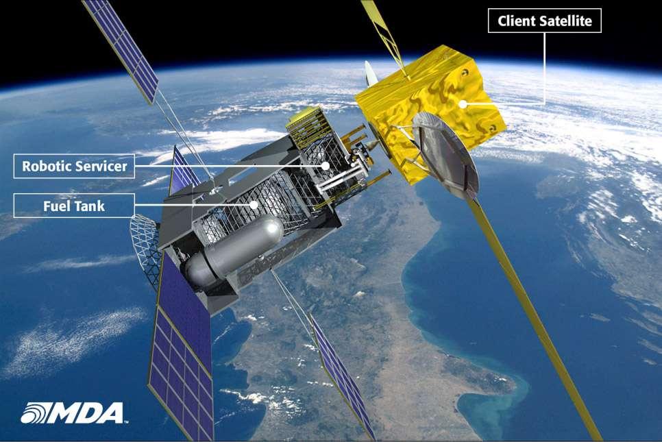 MDA et Intelsat vont mettre eu point un système conçu pour augmenter la durée de vie des satellites en orbite géostationnaire et effectuer quelques tâches de maintenance. Ce satellite pourrait réaliser une première mission en 2015. © MacDonald Dettwiler and Associates