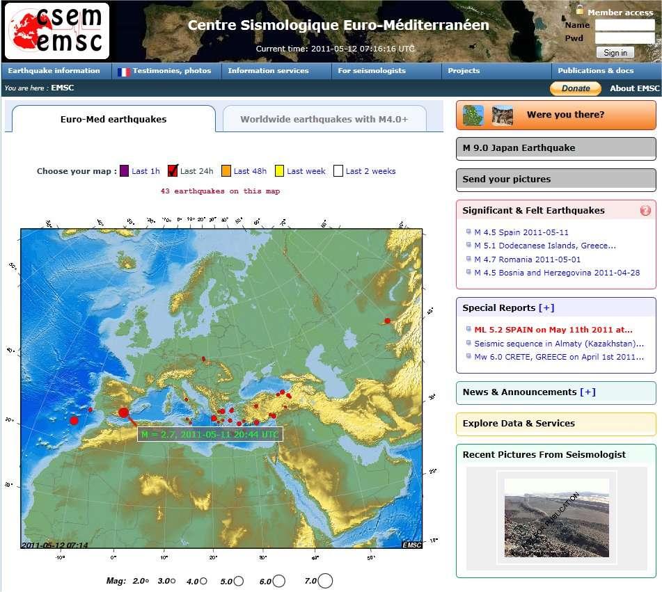 Le séisme s'est produit à 10 kilomètres de profondeur, dans la région de Murcie, non loin de la Méditerranée, au sud-est de l'Espagne. Plusieurs répliques ont été enregistrées ensuite. © CESM