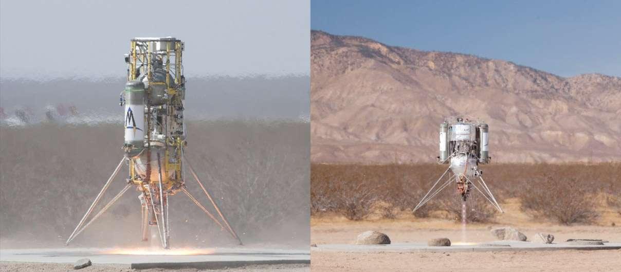 Les deux engins de Masten Space Systems qui ont concouru avec succès dans le Northrop Grumman Lunar Lander Challenge. Celui de droite, XA-0.1-B (Xombie), a remporté la deuxième place du niveau 1. L'XA-0.1-E (Xoie) a remporté le prix le plus prestigieux en finissant premier du niveau 2. À la clé une capacité démontrée d'atteindre 50 mètres, de se déplacer latéralement sur 100 mètres et se poser sur une surface reproduisant la surface de la Lune, avec ses cratères. © Tony Landis/Nasa Dryden