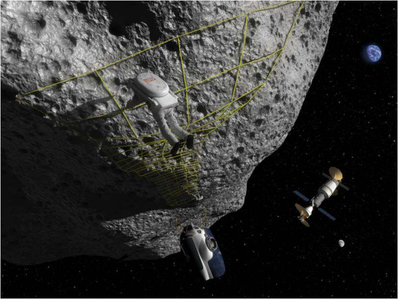 Une image d'artiste montrant ce que serait une mission d'exploration d'un astéroïde. Une telle mission est sans doute possible d'ici 10 à 20 ans. Mais si l'on se propose de vraiment exploiter un géocroiseur pour en extraire du minerai, il faudra attendre bien plus longtemps. En attendant, les astronautes s'entraînent, avec les missions Neemo. © Nasa