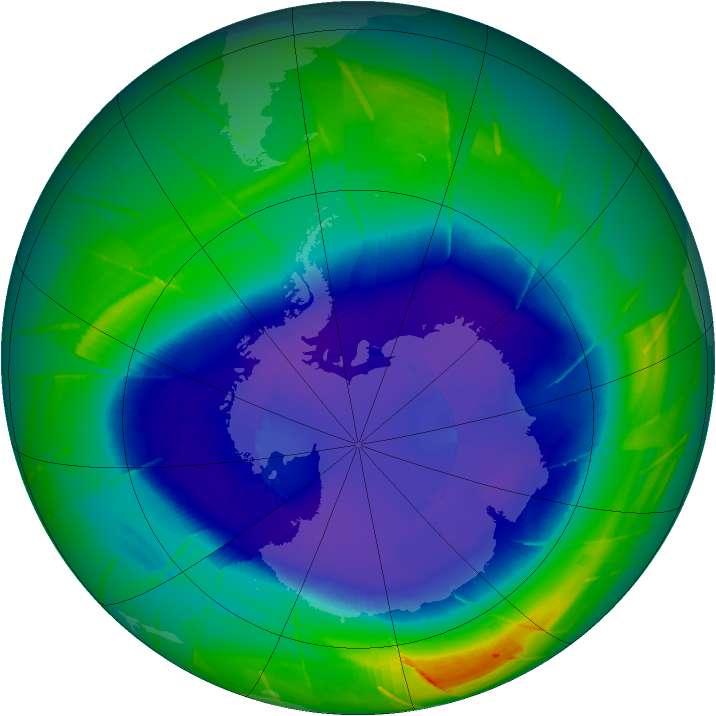 L'appauvrissement de l'ozone et les émissions de gaz à effet de serre modifient la circulation atmosphérique de l'hémisphère Sud. © Nasa
