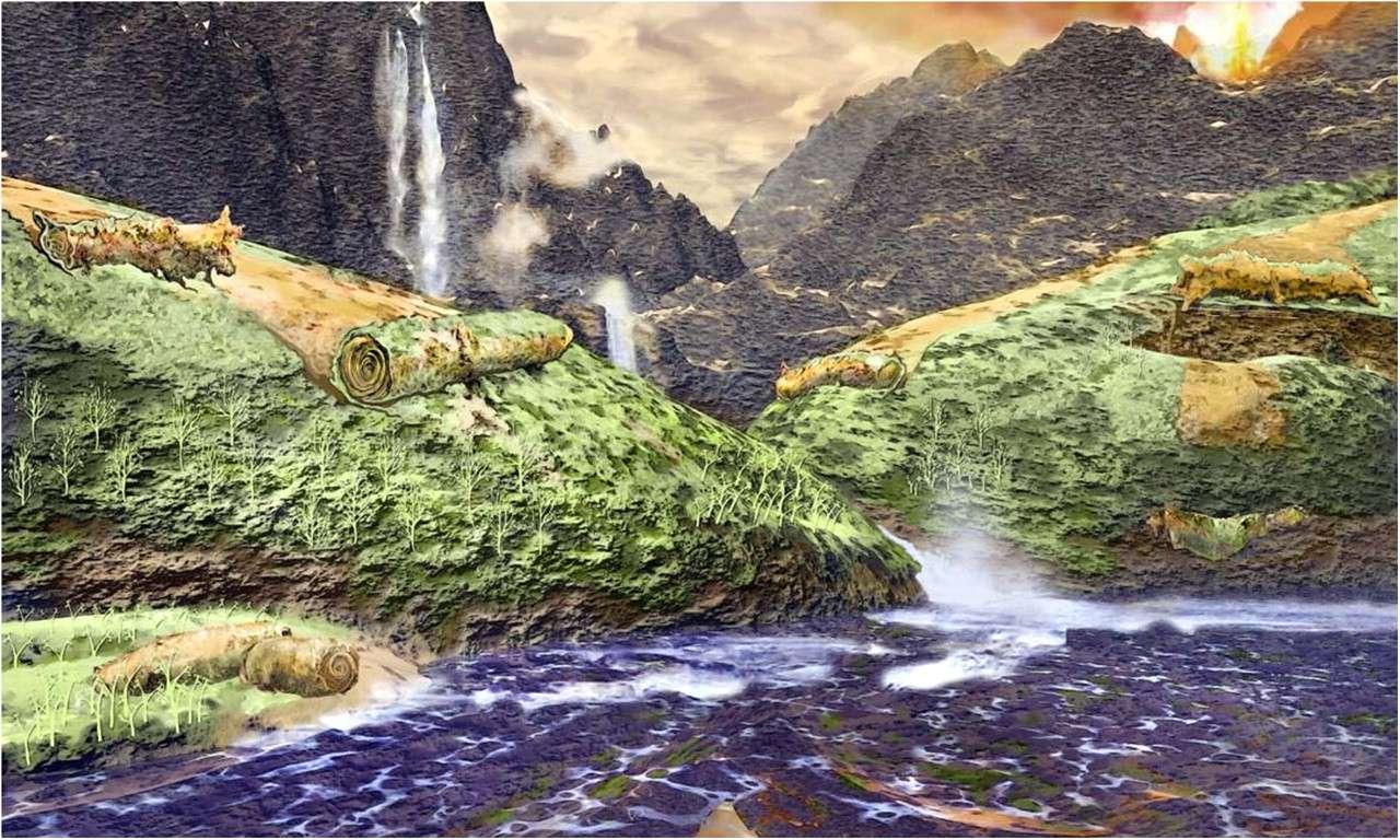 Reconstitution possible de l'environnement et de la formation des fossiles de Prototaxites. Les matelas de mousses de champignons et de cyanobactéries ont pu s'enrouler sous l'influence de la gravité, du vent ou de l'eau, avant de se déposer dans des eaux peu profondes et, lentement, de se fossiliser. © Kandis Elliot