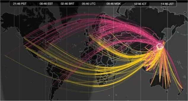 Les messages partis du Japon (en jaune) et les réponses (en rose) ont augmenté de 500 % dans l'heure qui a suivi le séisme. © 2011 Yahoo! France SAS All rights reserved
