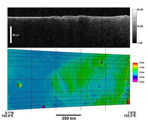 La coupe radar de la partie supérieure de ce montage montre la sub-surface d'une partie de Mesusa Fossae. Cette formation résulte de dépôts de matière non encore identifiée qui forment des collines dans les terrains situés en contrebas. Crédit Es